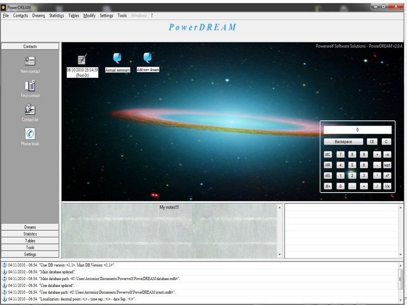 Click to view PowerDREAM Software to catalogue dreams 2.0.8 screenshot